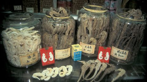 Seahorses for sale in Hong Kong's Sheung Wan district.