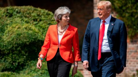UK Prime Minister Theresa May and US President Donald Trump before a joint press conference at Chequers on July 13, 2018 in Aylesbury, England.