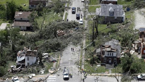 This aerial image shows severe storm damage in Jefferson City, Mo., Thursday, May 23, 2019, after a tornado hit overnight. A tornado tore apart buildings in Missouri's capital city as part of an overnight outbreak of severe weather across the state. (AP Photo/Jeff Roberson)