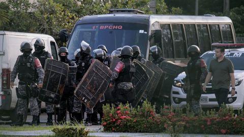 Brazilian riot police prepare to enter a prison facility in the city of Manaus on Monday.