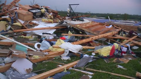 LINWOOD, Kan. — Brian Hahn, of Linwood, Kansas, said he was huddled in his basement with his wife, teenage daughter and dog when the tornado went through. Hahn said the tornado took his home, silos and his livestock.