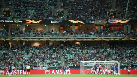 Empty seats are seen in the stadium during the Europa League Final between Chelsea and Arsenal.