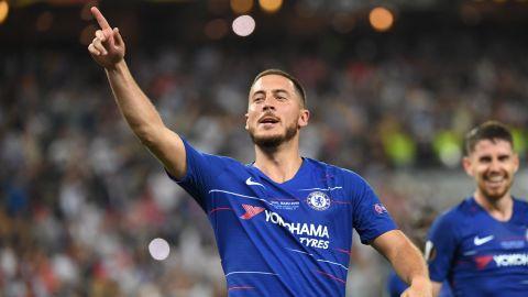 Chelsea's Belgian midfielder Eden Hazard scored two goals in the final.