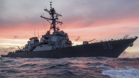 The USS John S. McCain conducts a patrol in the South China Sea, Jan. 22, 2017, while supporting security efforts in the region. (Navy Photo by Petty Officer 3rd Class James Vazquez)