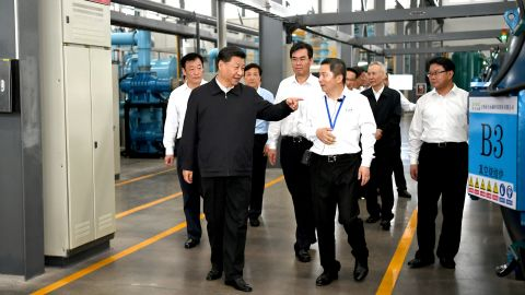 GANZHOU, May 20, 2019 -- Chinese President Xi Jinping, also general secretary of the Communist Party of China Central Committee and chairman of the Central Military Commission, learns about the production process and operation of the JL MAG Rare-Earth Co. Ltd. as well as the development of the rare earth industry in the city of Ganzhou in east China's Jiangxi Province on May 20, 2019. Xi Jinping visited Jiangxi Province Monday on an inspection tour. (Xinhua/Xie Huanchi) (Xinhua/ via Getty Images)