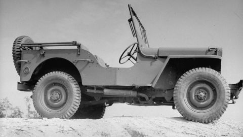 Today's Jeep Wrangler is a direct descendent of this World War II vehicle right down to the folding windshield.