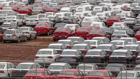 View of cars at the Volkswagen plant in Puebla, Mexico, on August 27, 2018. - Mexican President-elect Andres Manuel Lopez Obrador's advisers hailed a new trade deal with the United States, saying it represented progress on energy and wages for Mexico's workers. (Photo by Jose Castanares / AFP)        (Photo credit should read JOSE CASTANARES/AFP/Getty Images)