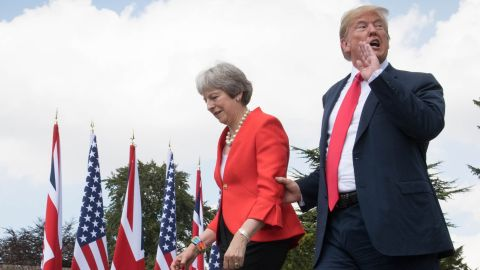 Donald Trump and Theresa May at the prime minister's country residence last July.