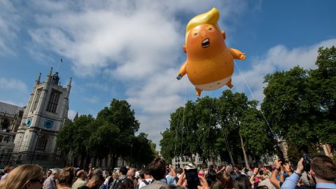 Demonstrators in London raised a six meter high balloon named the 'Trump Baby' to protest the president's last visit to the United Kingdom.