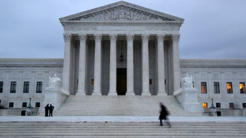 WASHINGTON, DC - JANUARY 31:  A man walks up the steps of the U.S. Supreme Court on January 31, 2017 in Washington, DC. Later today President Donald Trump is expected to announce his Supreme Court nominee to replace Associate Justice Antonin Scalia who passed away last year.  (Photo by Mark Wilson/Getty Images)