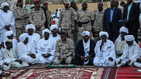 Gen. Mohammed Hamdan Dagalo, the deputy head of the military council that assumed power in Sudan, prays during a Ramadan event in Khartoum on May 18.