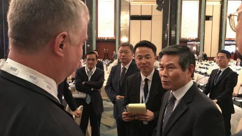 US Special Representative to North Korea Stephen Biegun (facing away from the camera) and the South Korean Defense Minister Jeong Kyeong-doo at the Shangri-La Dialogue security conference in Singapore.