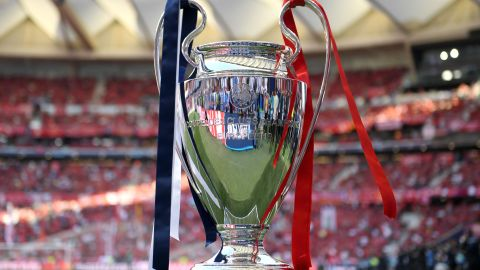 The Champions League trophy is seen on display inside the stadium prior to the start of the final between Liverpool and Tottenham on Saturday.