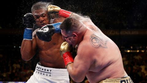 Andy Ruiz Jr. (right) punches Anthony Joshua during his surpise victory.