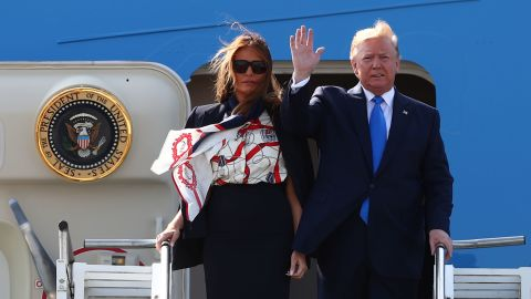 The Trumps arrive at Stansted Airport.