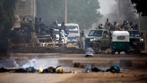 TOPSHOT - Sudanese forces are deployed around Khartoum's army headquarters on June 3, 2019 as they try to disperse Khartoum's sit-in. - At least two people were killed Monday as Sudan's military council tried to break up a sit-in outside Khartoum's army headquarters, a doctors' committee said as gunfire was heard from the protest site. (Photo by ASHRAF SHAZLY / AFP)        (Photo credit should read ASHRAF SHAZLY/AFP/Getty Images)
