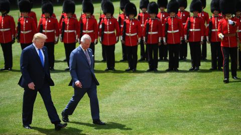 U.S. President Donald Trump and Prince Charles, Prince of Wales inspect the Guard of Honour during the Ceremonial Welcome at Buckingham Palace on the first day of the U.S. president and First Lady's three-day State visit on June 3, 2019 in London, England. (Victoria Jones - WPA Pool/Getty Images)