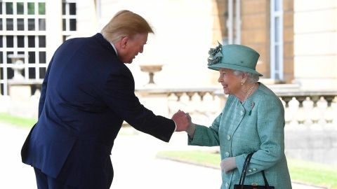 The Queen greets the President as he arrives at Buckingham Palace.