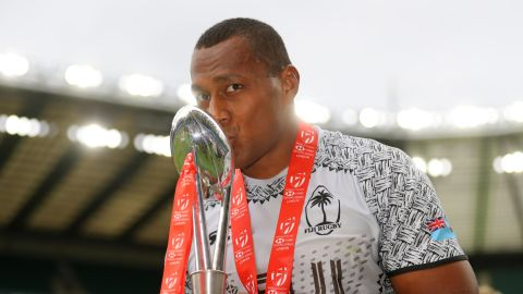 Fiji won back-to-back London Sevens titles for the first time by demolishing Australia 43-7. Gareth Baber's side moved to the top of the overall standings after ousting title rival USA in the semifinals.