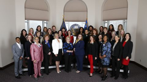 The 32 female members of the Nevada Legislature photographed in Carson City, Nevada, on February 4, 2019. They are the first female majority Legislature in the US.
