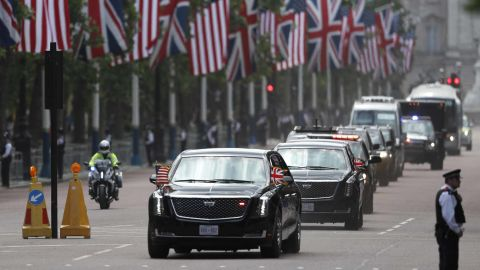 The President's convoy drives down Pall Mall in London on June 3.