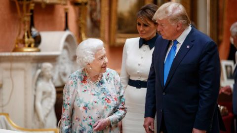 Queen Elizabeth II welcomes the Trumps to Buckingham Palace. She took them on a tour of the royal collection.