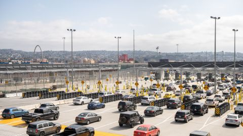 Cars pass from the US into Mexico at the border crossing in San Ysidro, California on May 31, 2019.