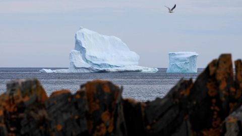 FERRYLAND, NEWFOUNDLAND - APRIL 26: A large iceberg floats in the Atlantic Ocean, April 26, 2017 off the coast of Ferryland, Newfoundland, Canada. Icebergs break off from Baffin Island and Greenland every spring and drift down the stretch of water along the coast of Newfoundland and Labrador known as Iceberg Alley. According to media reports, the higher number of icebergs this season can be attributed to uncommonly strong counter-clockwise winds that draw the icebergs south and possibly global warming, which could be making Greenland's ice sheet melt faster. (Photo by Drew Angerer/Getty Images)