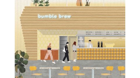 A rendering of Bumble's planned cafe and wine bar location slated to come to New York City this fall.