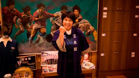 Akiko Iwasaki is ready to welcome fans at her inn during the Rugby World Cup.