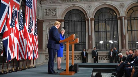 """Trump and May give a joint news conference on June 4. """"I think she's done a very good job,"""" Trump said, reversing past critiques of her failure to strike a Brexit deal that both Parliament and the EU can accept."""