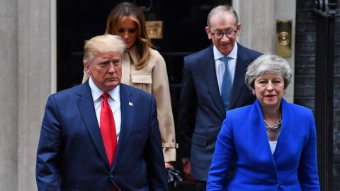 """Trump and May are followed by their spouses as they make their way to the news conference in London on June 4. The President <a href=""""https://www.cnn.com/2019/06/04/politics/trump-theresa-may-brexit-trade/index.html"""" target=""""_blank"""">offered plenty of praise for May,</a> who recently announced her resignation."""
