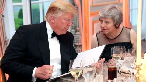 LONDON, ENGLAND - JUNE 04: US President Donald Trump and British Prime Minister Theresa May speak at a dinner hosted by himself and First Lady Melania Trump at Winfield House for Prince Charles, Prince of Wales and Camilla, Duchess of Cornwall, during their state visit on June 04, 2019 in London, England. President Trump's three-day state visit began with lunch with the Queen, followed by a State Banquet at Buckingham Palace, whilst today he attended business meetings with the Prime Minister and the Duke of York, before traveling to Portsmouth to mark the 75th anniversary of the D-Day landings. (Photo by Chris Jackson - WPA Pool/Getty Images)