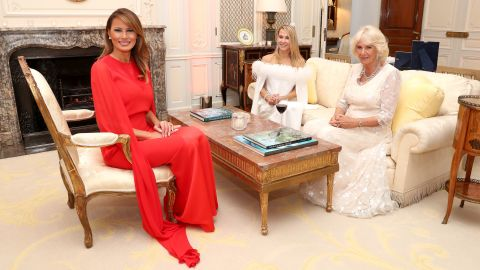 Melania Trump spends time with Camilla and Suzanne Ircha, the wife of the US ambassador.