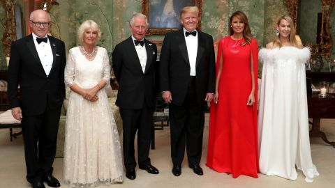 The Trumps pose for a photo ahead of a dinner at Winfield House in London on Tuesday, June 4. Joining them, from left, are Woody Johnson, the US ambassador to the United Kingdom; Camilla, the Duchess of Cornwall; Prince Charles; and Johnson's wife, Suzanne Ircha.