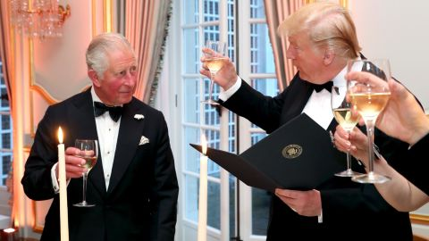 Trump and Prince Charles share a toast at Winfield House.