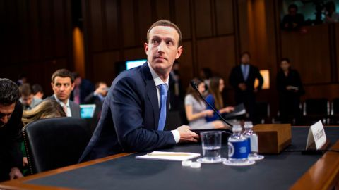 Facebook cofounder and CEO Mark Zuckerberg testifies before a combined Senate Judiciary and Commerce committee on April 10, 2018 in Washington, DC.
