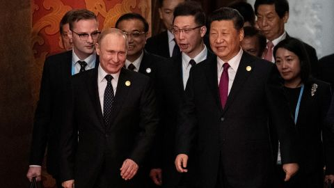 BEIJING, CHINA - APRIL 26: Russia's President Vladimir Putin (front L) and China's President Xi Jinping (C) arrive for the welcome banquet for leaders attending the Belt and Road Forum at the Great Hall of the People on April 26, 2019 in Beijing, China. (Photo by Nicolas Asfouri - Pool/Getty Images)