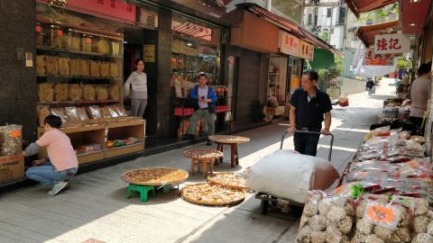 Sheung Wan is the epicenter of the trade in Chinese medicine and dried seafood in Hong Kong.