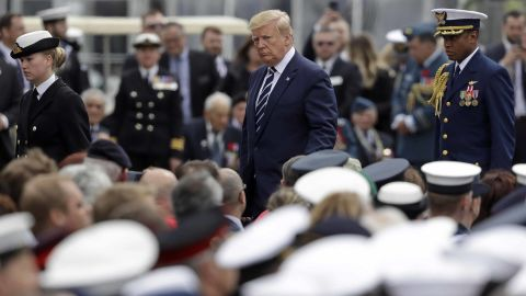 Trump heads back after speaking at the event in Portsmouth on June 5.