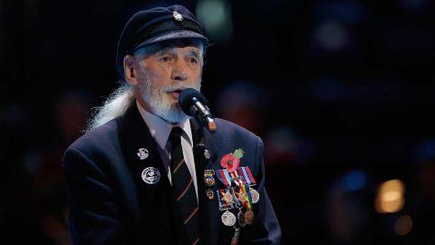 Veteran Jim Radford speaks at The Royal British Legion's Festival of Remembrance matinee performance in 2014 at Royal Albert Hall in London.