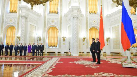 Russian President Vladimir Putin and Chinese President Xi Jinping at the Kremlin on June 5.