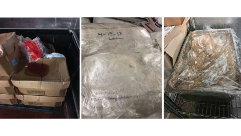 Open packaged raw meat and food items leaking blood, not relabeled and dated, observed by OIG at the Essex facility on July 24, 2018 (left); food not properly labeled or stared at LaSalle facility on August 7, 2018 (center); and unlabeled food with no description or date at Aurora facility on November 6, 2018 (right).