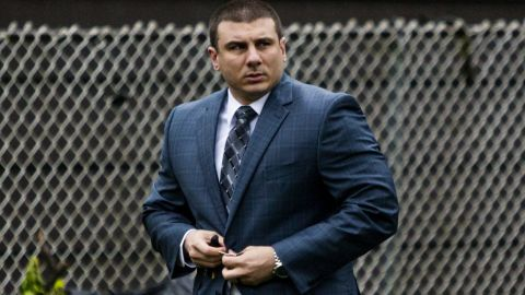 New York City police officer Daniel Pantaleo leaves his house Monday, May 13, 2019, in Staten Island, N.Y. A long-delayed disciplinary trial began Monday for Pantaleo, accused of using a banned chokehold in the July 2014 death of Eric Garner.  (AP Photo/Eduardo Munoz Alvarez)
