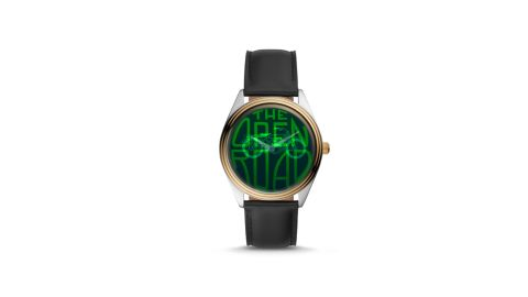 """If you want to give a throwback gift that screams awesome, the <a href=""""http://www.anrdoezrs.net/links/8314883/type/dlg/sid/0606fathersdaytech/https://www.fossil.com/us/en/products/the-archival-series-hologram-black-leather-watch-sku-le1054p.html"""" target=""""_blank"""" target=""""_blank"""">Archival Series Hologram Black Leather Watch from Fossil </a>will do the trick. The screen might look like one image, but it switches between a message and a motorcycle, all while telling time, thanks to a green holographic dial. ($115; <a href=""""http://www.anrdoezrs.net/links/8314883/type/dlg/sid/0606fathersdaytech/https://www.fossil.com/us/en/products/the-archival-series-hologram-black-leather-watch-sku-le1054p.html"""" target=""""_blank"""" target=""""_blank"""">fossil.com</a>)"""