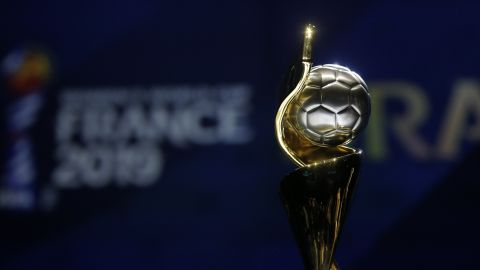 PARIS, FRANCE - DECEMBER 08:  The FIFA Women's World Cup trophy on display during the FIFA Women's World Cup France 2019 Draw at La Seine Musicale on December 8, 2018 in Paris, France.  (Photo by Dean Mouhtaropoulos/Getty Images)