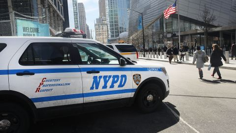 NEW YORK, NY - MARCH 20:  A police car sits in front of One World Trade at ground zero in Manhattan on March 20, 2017 in New York City. Senate Minority Leader Chuck Schumer has been voicing criticism of President Donald Trump's proposed budget that could cut as much as $190 million from New York City efforts to fight terrorism. Following two major terrorist attacks and numerous foiled plots, New York City is considered the nation's prime target for terrorists. The NYPD has stated that it costs $500,000 a day to pay for the nearly 200 police officers in and around Trump Tower on Fifth Ave.  (Photo by Spencer Platt/Getty Images)