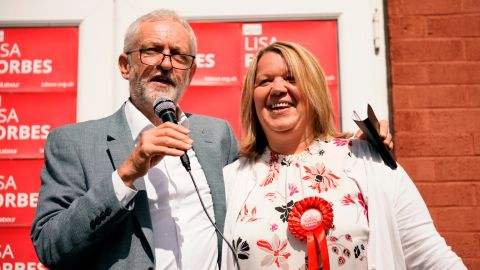 British Labour Party leader Jeremy Corbyn and the party's prospective parliamentary candidate Lisa Forbes talk to supporters in the run up to the Peterborough by-election on June 1, 2019 in Peterborough, England.