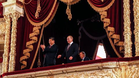 Putin and Xi Jinping at a gala dedicated to the 70th anniversary of the establishment of diplomatic relations between Russia and China.