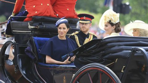 Britain's Prince Harry, Meghan Duchess of Sussex, Kate Duchess of Cambridge and Camilla Duchess of Cornwall attend the annual Trooping the Colour Ceremony in London, Saturday, June 8, 2019. Trooping the Colour is the Queen's Birthday Parade and one of the nation's most impressive and iconic annual events attended by almost every member of the Royal Family.(Gareth Fuller/PA via AP)